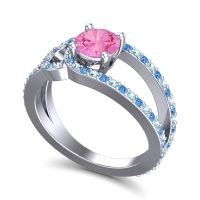 Pink Tourmaline Modern Pave Kandi Ring with Aquamarine and Swiss Blue Topaz in 18k White Gold