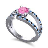 Pink Tourmaline Modern Pave Kandi Ring with Black Onyx and Swiss Blue Topaz in Palladium