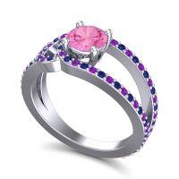 Pink Tourmaline Modern Pave Kandi Ring with Blue Sapphire and Amethyst in Palladium
