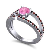 Pink Tourmaline Modern Pave Kandi Ring with Garnet and Black Onyx in Platinum