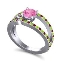 Pink Tourmaline Modern Pave Kandi Ring with Garnet and Peridot in 18k White Gold