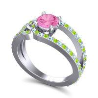 Pink Tourmaline Modern Pave Kandi Ring with Peridot and Aquamarine in 14k White Gold