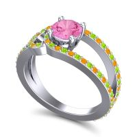 Pink Tourmaline Modern Pave Kandi Ring with Peridot and Citrine in 14k White Gold