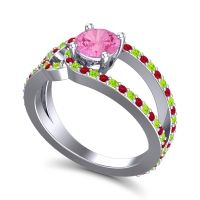 Pink Tourmaline Modern Pave Kandi Ring with Peridot and Ruby in Palladium