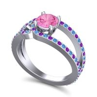 Pink Tourmaline Modern Pave Kandi Ring with Swiss Blue Topaz and Amethyst in 14k White Gold