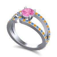 Pink Tourmaline Modern Pave Kandi Ring with Swiss Blue Topaz and Citrine in Platinum