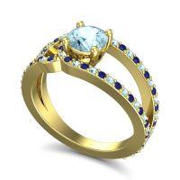 Aquamarine Modern Pave Kandi Ring with Blue Sapphire in 18k Yellow Gold