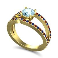 Aquamarine Modern Pave Kandi Ring with Blue Sapphire and Garnet in 14k Yellow Gold