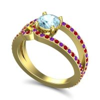 Aquamarine Modern Pave Kandi Ring with Ruby and Amethyst in 18k Yellow Gold