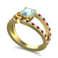Aquamarine Modern Pave Kandi Ring with Ruby in 18k Yellow Gold