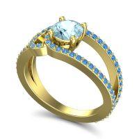 Aquamarine Modern Pave Kandi Ring with Swiss Blue Topaz in 14k Yellow Gold