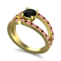 Black Onyx Modern Pave Kandi Ring with Pink Tourmaline and Garnet in 18k Yellow Gold