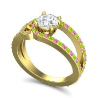 Diamond Modern Pave Kandi Ring with Pink Tourmaline and Peridot in 18k Yellow Gold