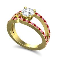 Diamond Modern Pave Kandi Ring with Pink Tourmaline and Ruby in 14k Yellow Gold