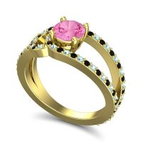 Pink Tourmaline Modern Pave Kandi Ring with Aquamarine and Black Onyx in 14k Yellow Gold