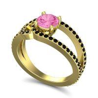 Pink Tourmaline Modern Pave Kandi Ring with Black Onyx in 14k Yellow Gold