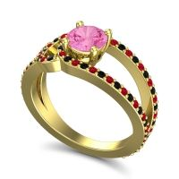 Pink Tourmaline Modern Pave Kandi Ring with Black Onyx and Ruby in 18k Yellow Gold