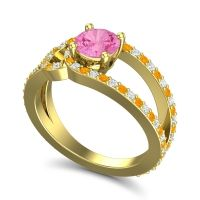 Pink Tourmaline Modern Pave Kandi Ring with Diamond and Citrine in 18k Yellow Gold