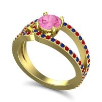 Pink Tourmaline Modern Pave Kandi Ring with Ruby and Blue Sapphire in 18k Yellow Gold