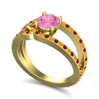 Pink Tourmaline Modern Pave Kandi Ring with Ruby and Citrine in 18k Yellow Gold