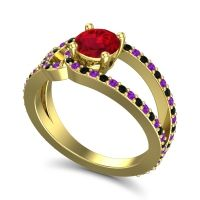 Ruby Modern Pave Kandi Ring with Amethyst and Black Onyx in 14k Yellow Gold