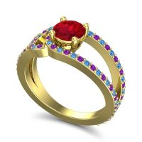 Ruby Modern Pave Kandi Ring with Amethyst and Swiss Blue Topaz in 14k Yellow Gold