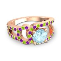 Aquamarine Modern Pave Kandi Ring with Amethyst and Peridot in 14K Rose Gold