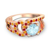 Aquamarine Modern Pave Kandi Ring with Citrine and Ruby in 14K Rose Gold
