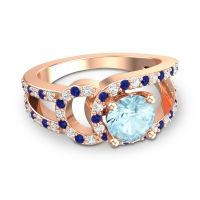 Aquamarine Modern Pave Kandi Ring with Diamond and Blue Sapphire in 14K Rose Gold