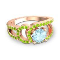 Aquamarine Modern Pave Kandi Ring with Peridot in 14K Rose Gold