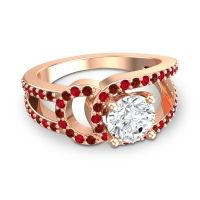 Diamond Modern Pave Kandi Ring with Garnet and Ruby in 14K Rose Gold