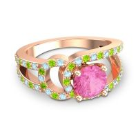 Pink Tourmaline Modern Pave Kandi Ring with Aquamarine and Peridot in 18K Rose Gold