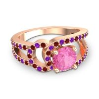 Pink Tourmaline Modern Pave Kandi Ring with Garnet and Amethyst in 18K Rose Gold