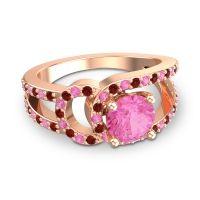 Pink Tourmaline Modern Pave Kandi Ring with Garnet in 18K Rose Gold