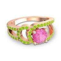 Pink Tourmaline Modern Pave Kandi Ring with Peridot in 18K Rose Gold