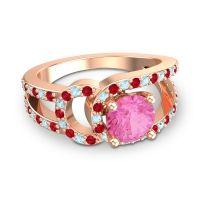 Pink Tourmaline Modern Pave Kandi Ring with Ruby and Aquamarine in 14K Rose Gold