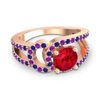 Ruby Modern Pave Kandi Ring with Blue Sapphire and Amethyst in 14K Rose Gold