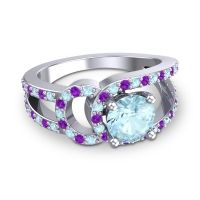 Aquamarine Modern Pave Kandi Ring with Amethyst in Platinum