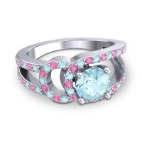 Aquamarine Modern Pave Kandi Ring with Pink Tourmaline in Platinum