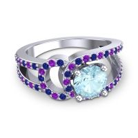 Aquamarine Modern Pave Kandi Ring with Blue Sapphire and Amethyst in 18k White Gold
