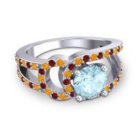 Aquamarine Modern Pave Kandi Ring with Citrine and Garnet in Platinum