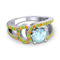Aquamarine Modern Pave Kandi Ring with Citrine and Peridot in Platinum
