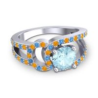 Aquamarine Modern Pave Kandi Ring with Citrine and Swiss Blue Topaz in 14k White Gold