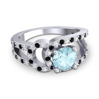 Aquamarine Modern Pave Kandi Ring with Diamond and Black Onyx in Platinum