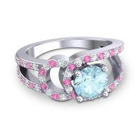 Aquamarine Modern Pave Kandi Ring with Diamond and Pink Tourmaline in Platinum