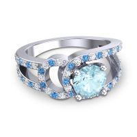 Aquamarine Modern Pave Kandi Ring with Diamond and Swiss Blue Topaz in 14k White Gold