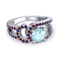 Aquamarine Modern Pave Kandi Ring with Garnet and Blue Sapphire in Palladium