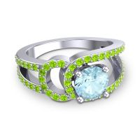 Aquamarine Modern Pave Kandi Ring with Peridot in 18k White Gold