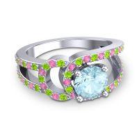 Aquamarine Modern Pave Kandi Ring with Peridot and Pink Tourmaline in 14k White Gold