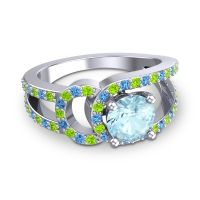 Aquamarine Modern Pave Kandi Ring with Peridot and Swiss Blue Topaz in 18k White Gold